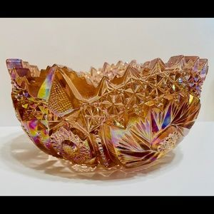 Vintage Pink Carnival Glass Dish